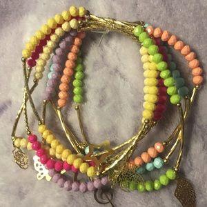 Jewelry - Artesanal Crystal Bracelets w/ 18kt Plated Charms